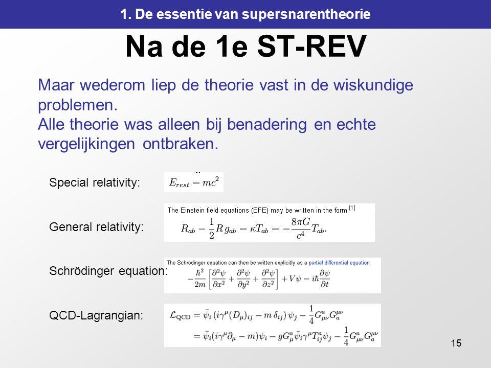 15 Na de 1e ST-REV Maar wederom liep de theorie vast in de wiskundige problemen. Alle theorie was alleen bij benadering en echte vergelijkingen ontbra