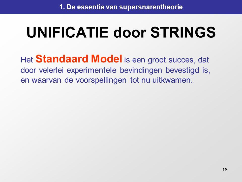 18 UNIFICATIE door STRINGS Het Standaard Model is een groot succes, dat door velerlei experimentele bevindingen bevestigd is, en waarvan de voorspelli