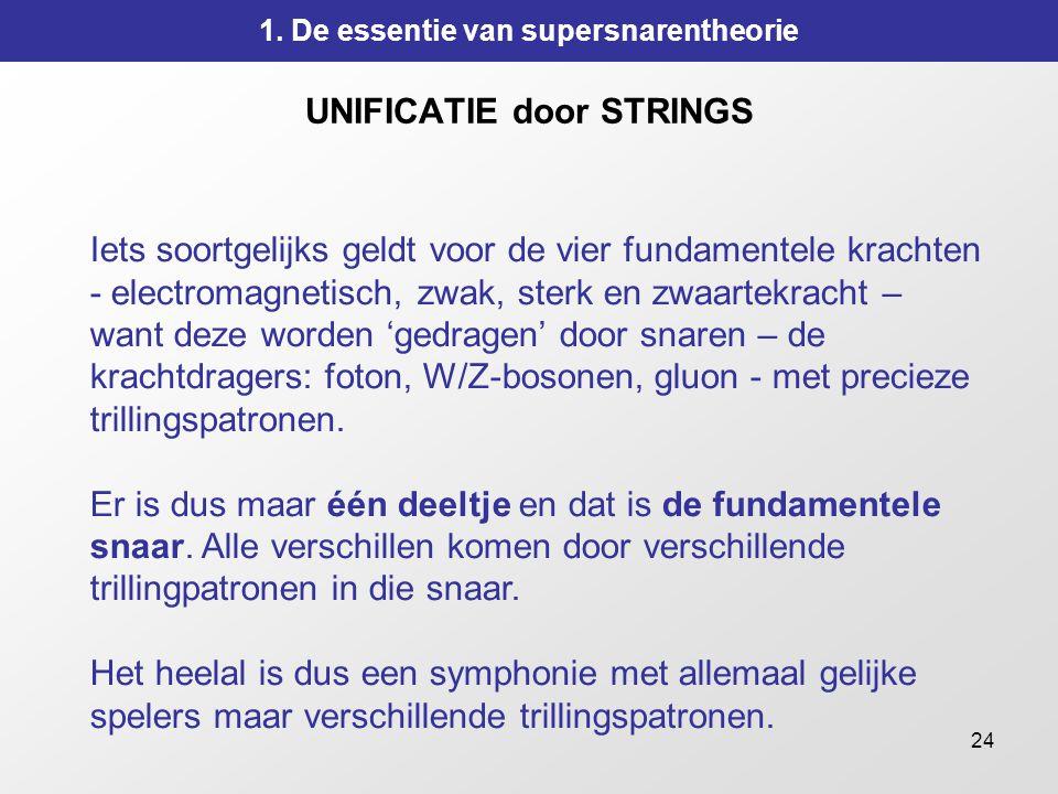 24 UNIFICATIE door STRINGS Iets soortgelijks geldt voor de vier fundamentele krachten - electromagnetisch, zwak, sterk en zwaartekracht – want deze wo