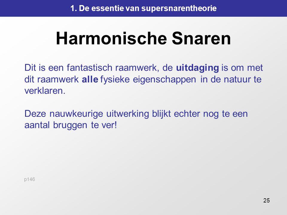 25 Harmonische Snaren Dit is een fantastisch raamwerk, de uitdaging is om met dit raamwerk alle fysieke eigenschappen in de natuur te verklaren. Deze
