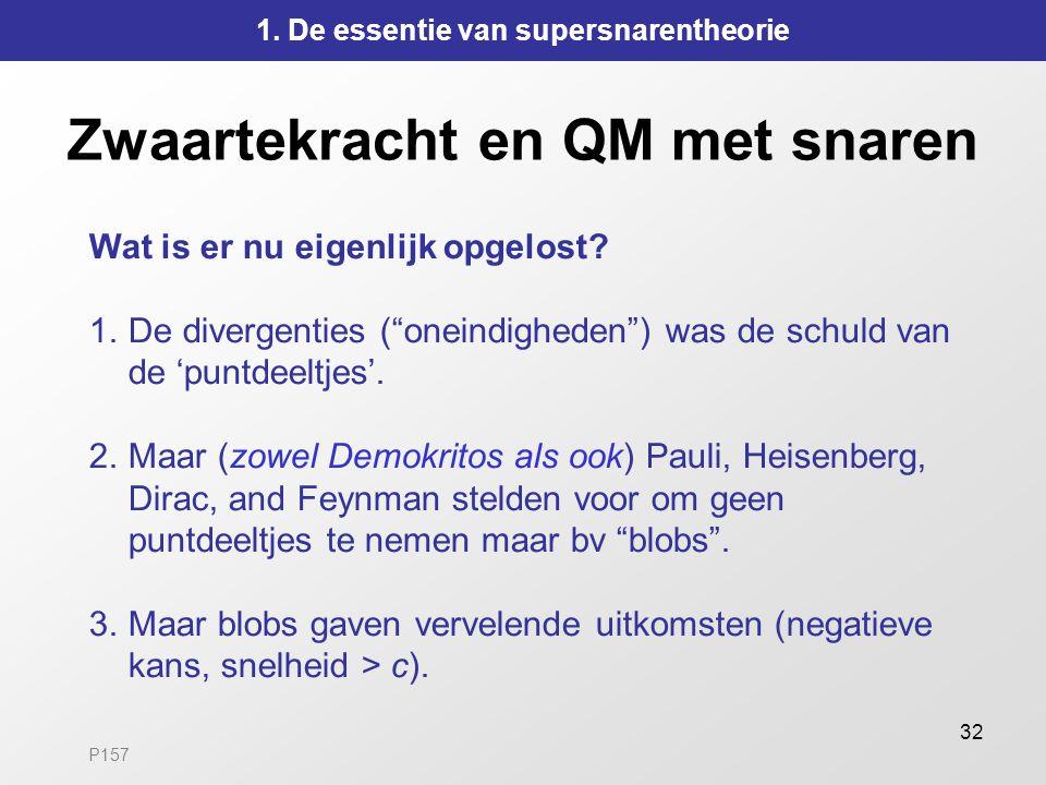 """32 Zwaartekracht en QM met snaren Wat is er nu eigenlijk opgelost? 1.De divergenties (""""oneindigheden"""") was de schuld van de 'puntdeeltjes'. 2.Maar (zo"""