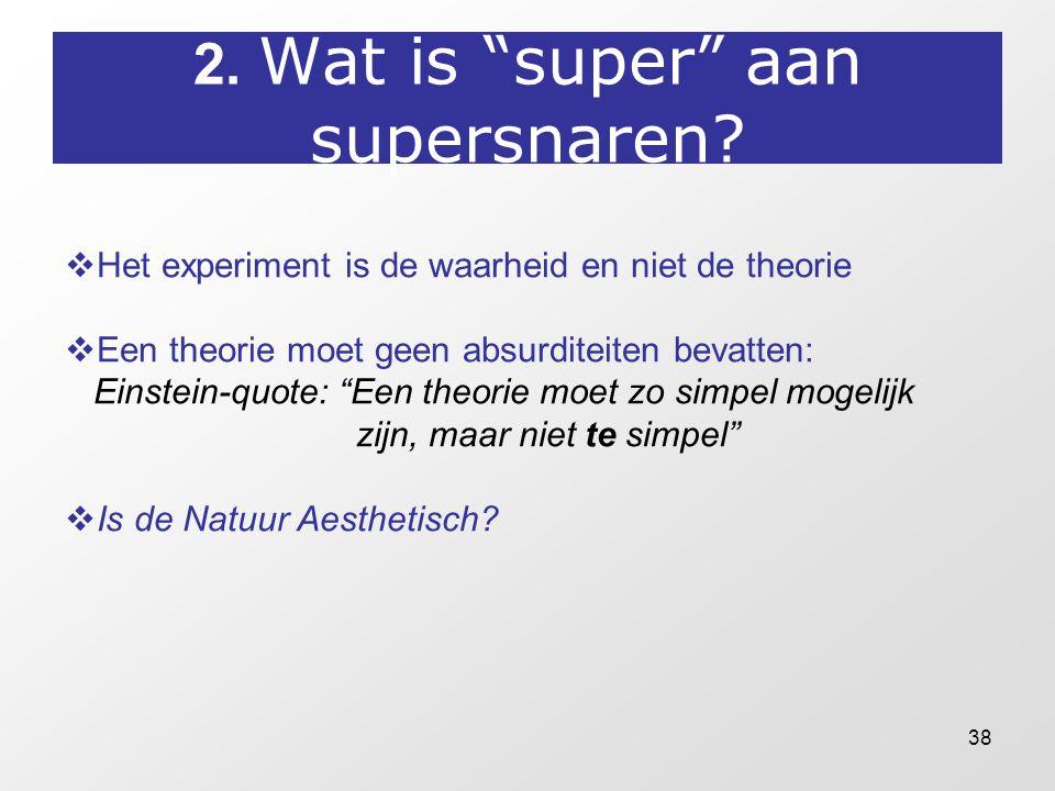 """38 2. Wat is """"super"""" aan supersnaren?  Het experiment is de waarheid en niet de theorie  Een theorie moet geen absurditeiten bevatten: Einstein-quot"""