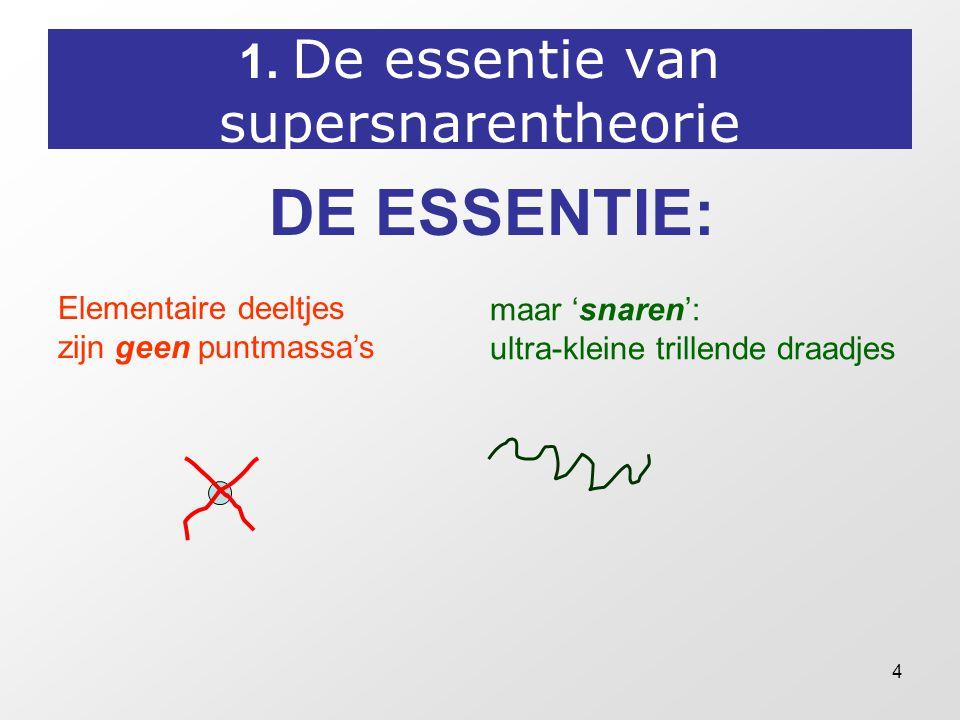 4 1. De essentie van supersnarentheorie DE ESSENTIE: Elementaire deeltjes zijn geen puntmassa's maar 'snaren': ultra-kleine trillende draadjes