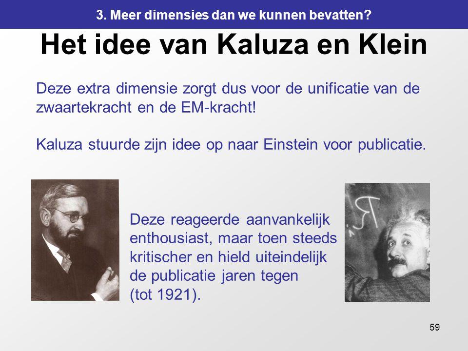 59 Het idee van Kaluza en Klein Deze extra dimensie zorgt dus voor de unificatie van de zwaartekracht en de EM-kracht! Kaluza stuurde zijn idee op naa