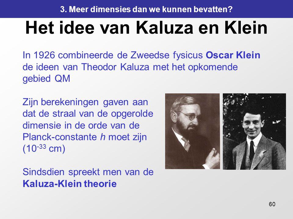 60 Het idee van Kaluza en Klein In 1926 combineerde de Zweedse fysicus Oscar Klein de ideen van Theodor Kaluza met het opkomende gebied QM Zijn bereke