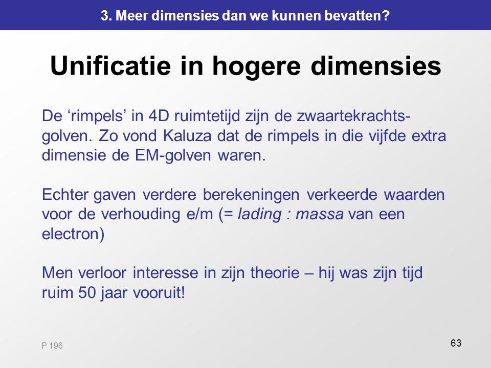 63 Unificatie in hogere dimensies De 'rimpels' in 4D ruimtetijd zijn de zwaartekrachts- golven. Zo vond Kaluza dat de rimpels in die vijfde extra dime