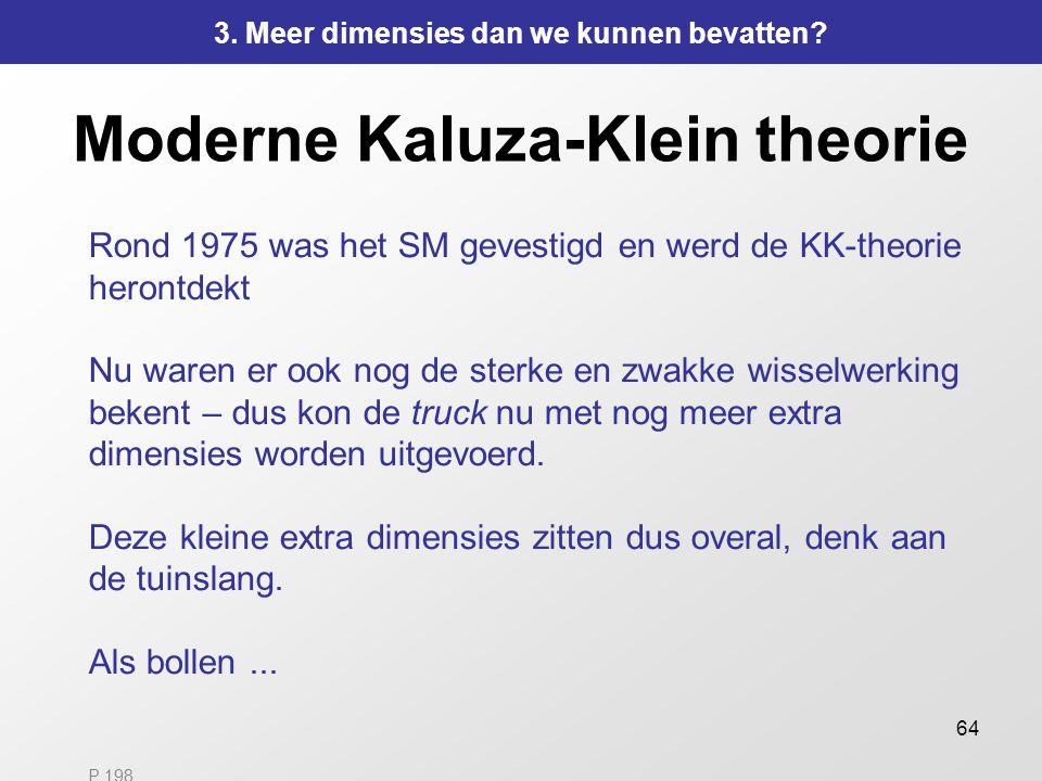 64 Moderne Kaluza-Klein theorie Rond 1975 was het SM gevestigd en werd de KK-theorie herontdekt Nu waren er ook nog de sterke en zwakke wisselwerking