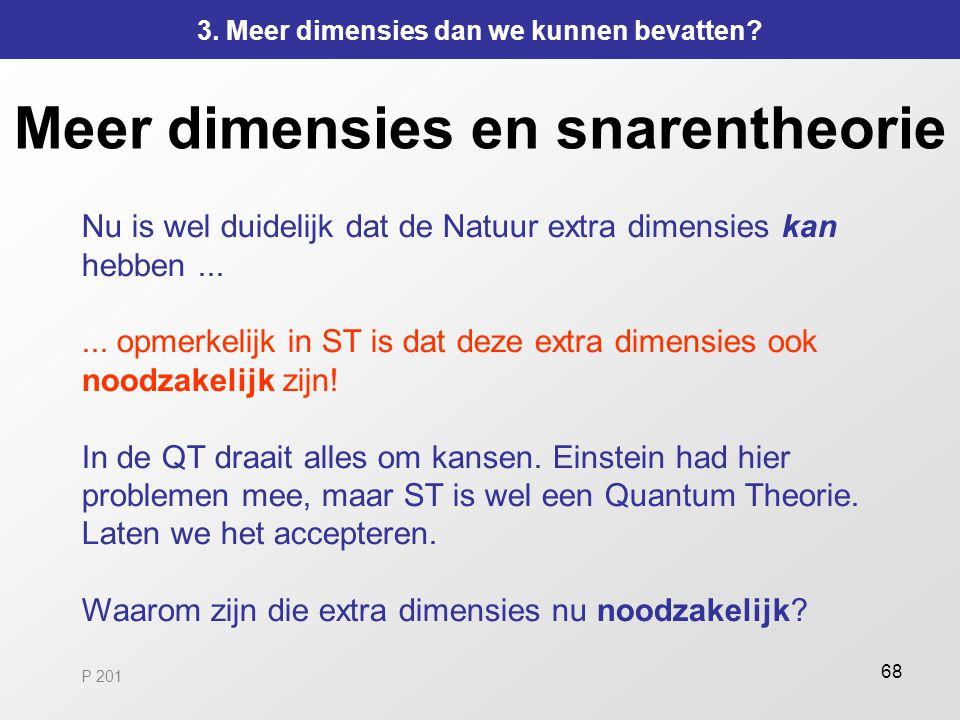 68 Meer dimensies en snarentheorie Nu is wel duidelijk dat de Natuur extra dimensies kan hebben...... opmerkelijk in ST is dat deze extra dimensies oo