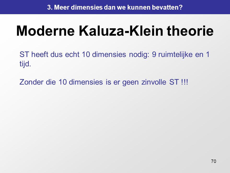 70 Moderne Kaluza-Klein theorie ST heeft dus echt 10 dimensies nodig: 9 ruimtelijke en 1 tijd. Zonder die 10 dimensies is er geen zinvolle ST !!! 3. M
