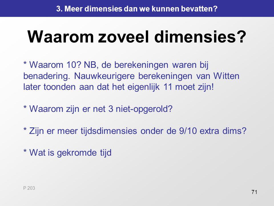 71 Waarom zoveel dimensies? * Waarom 10? NB, de berekeningen waren bij benadering. Nauwkeurigere berekeningen van Witten later toonden aan dat het eig