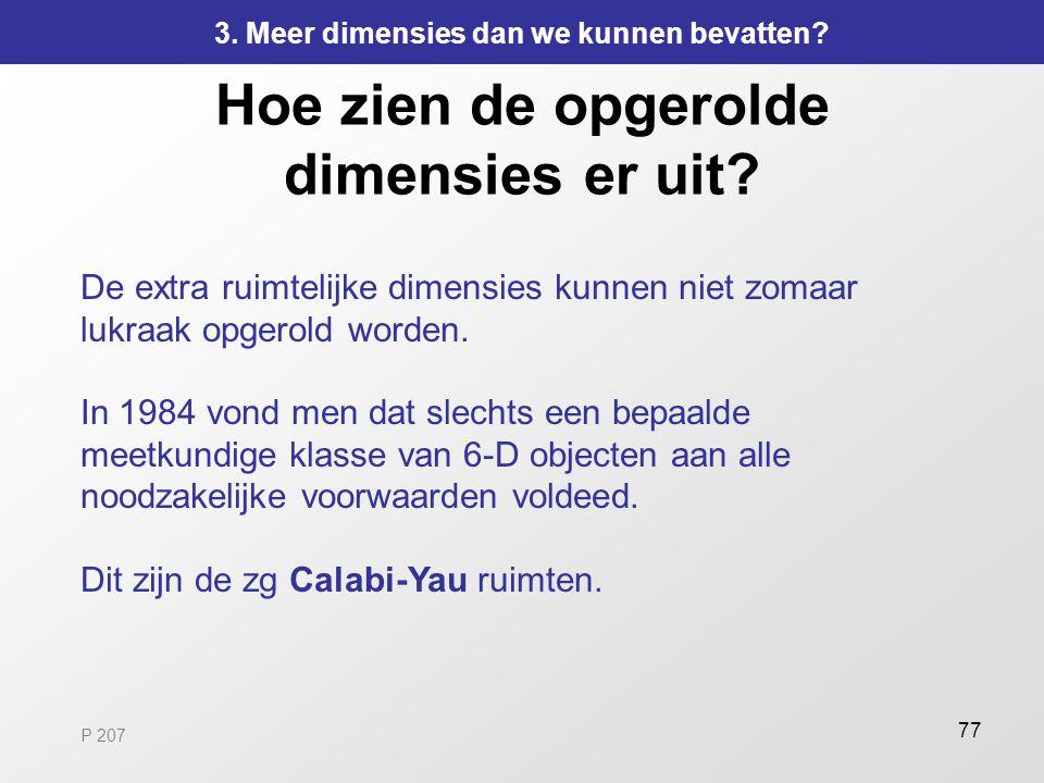 77 Hoe zien de opgerolde dimensies er uit? De extra ruimtelijke dimensies kunnen niet zomaar lukraak opgerold worden. In 1984 vond men dat slechts een