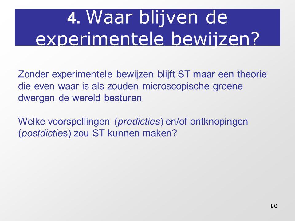 80 4. Waar blijven de experimentele bewijzen? Zonder experimentele bewijzen blijft ST maar een theorie die even waar is als zouden microscopische groe