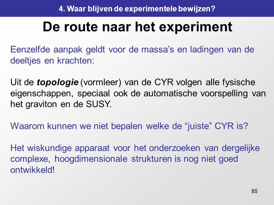 85 De route naar het experiment Eenzelfde aanpak geldt voor de massa's en ladingen van de deeltjes en krachten: Uit de topologie (vormleer) van de CYR