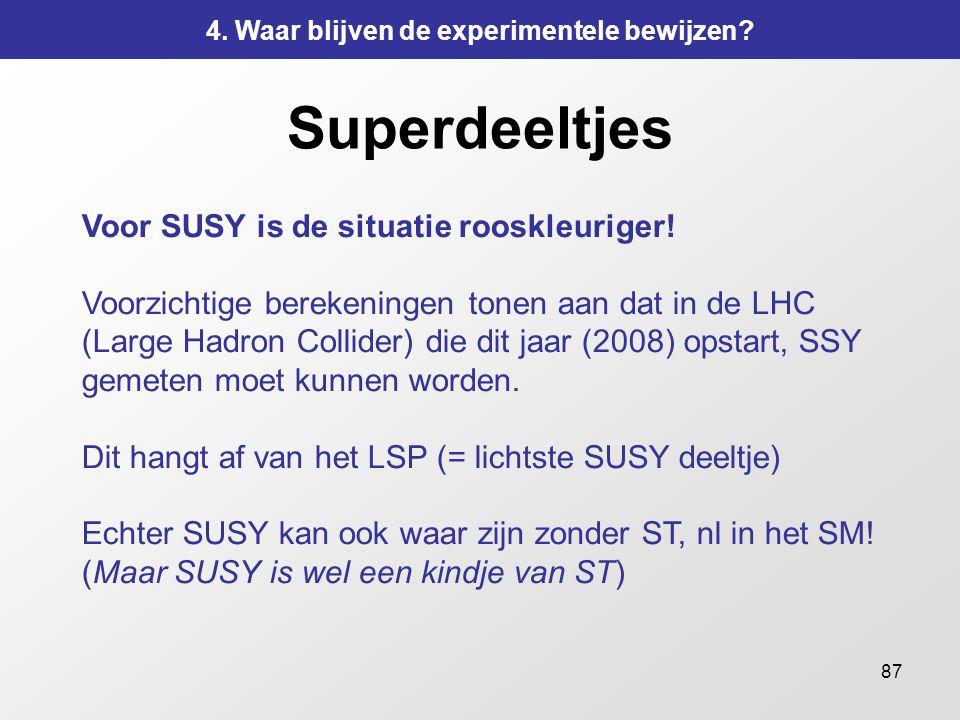 87 Superdeeltjes Voor SUSY is de situatie rooskleuriger! Voorzichtige berekeningen tonen aan dat in de LHC (Large Hadron Collider) die dit jaar (2008)