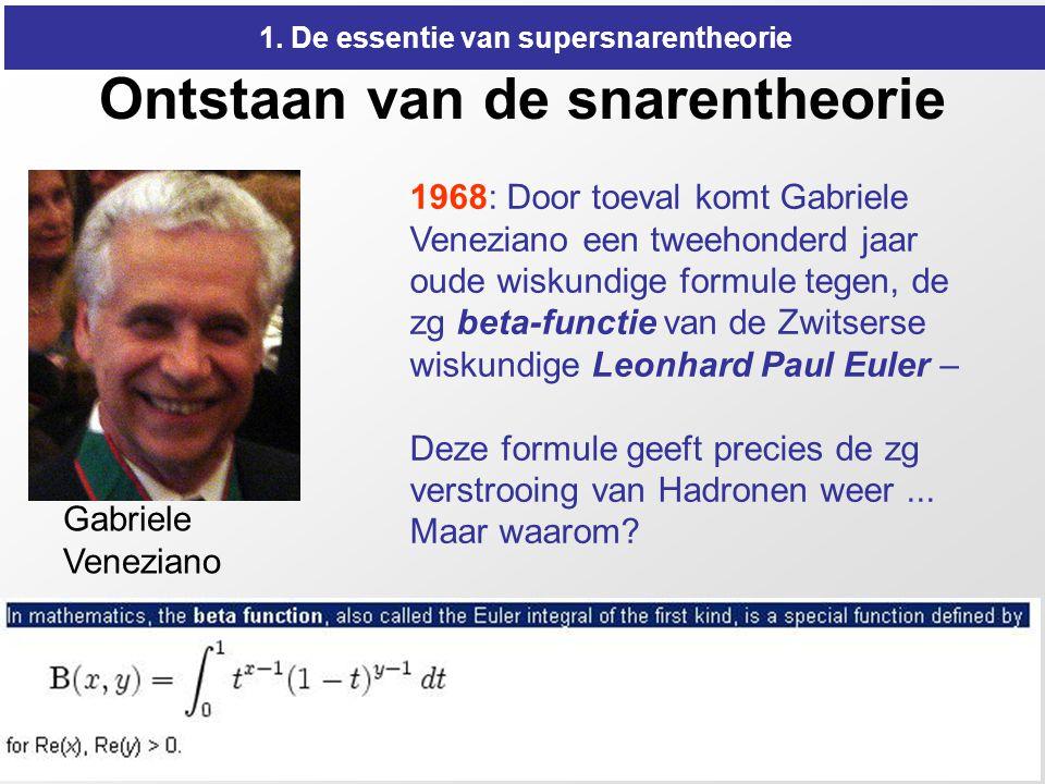 9 Ontstaan van de snarentheorie 1968: Door toeval komt Gabriele Veneziano een tweehonderd jaar oude wiskundige formule tegen, de zg beta-functie van d