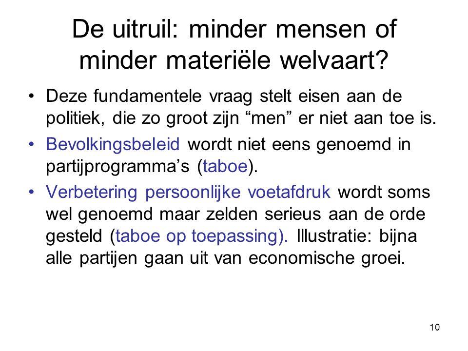 """10 De uitruil: minder mensen of minder materiële welvaart? Deze fundamentele vraag stelt eisen aan de politiek, die zo groot zijn """"men"""" er niet aan to"""