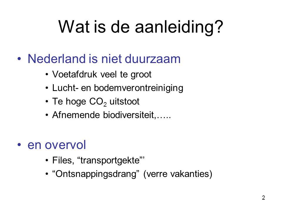 2 Wat is de aanleiding? Nederland is niet duurzaam Voetafdruk veel te groot Lucht- en bodemverontreiniging Te hoge CO 2 uitstoot Afnemende biodiversit