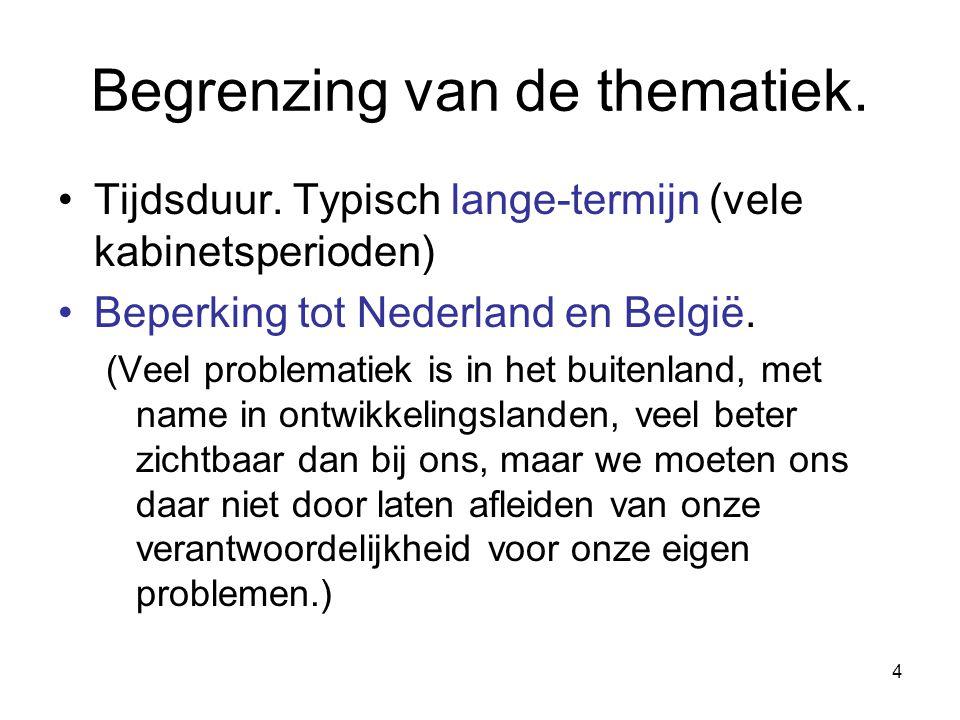 4 Begrenzing van de thematiek. Tijdsduur. Typisch lange-termijn (vele kabinetsperioden) Beperking tot Nederland en België. (Veel problematiek is in he
