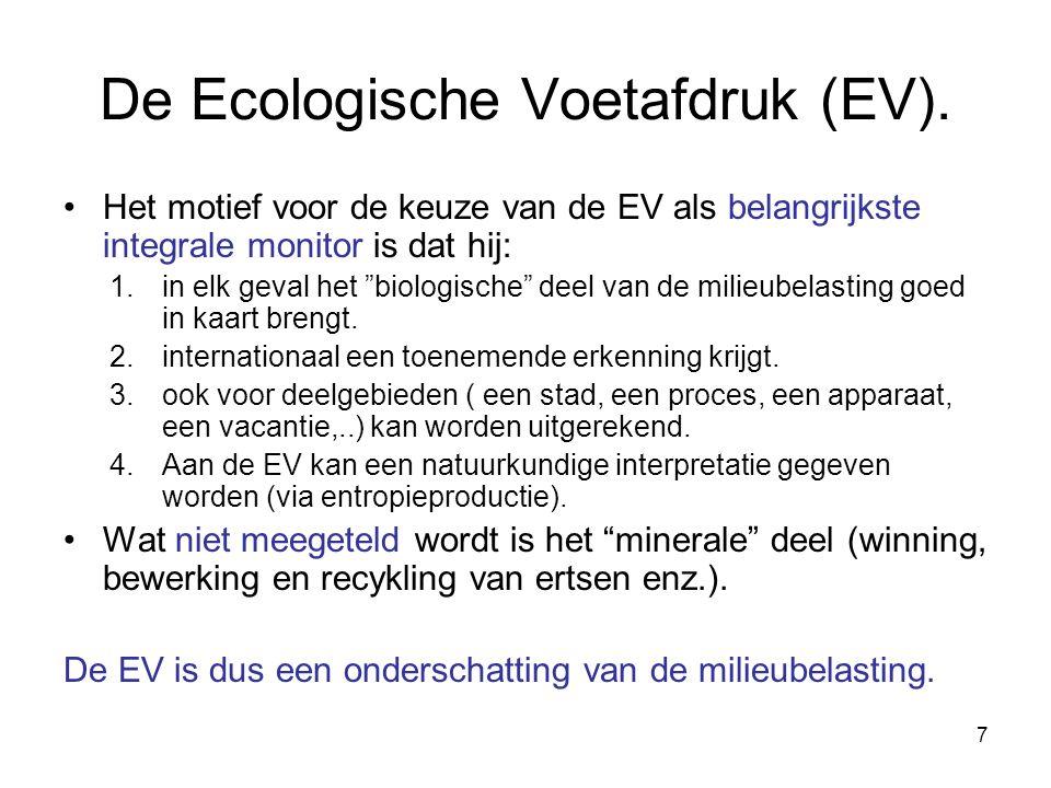 """7 De Ecologische Voetafdruk (EV). Het motief voor de keuze van de EV als belangrijkste integrale monitor is dat hij: 1.in elk geval het """"biologische"""""""