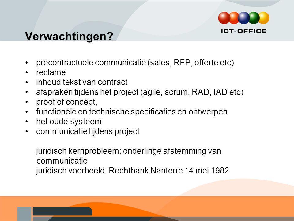 Verwachtingen? precontractuele communicatie (sales, RFP, offerte etc) reclame inhoud tekst van contract afspraken tijdens het project (agile, scrum, R