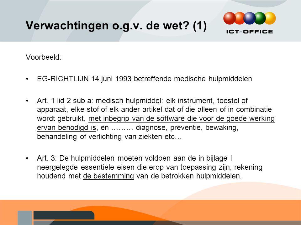 Verwachtingen o.g.v. de wet? (1) Voorbeeld: EG-RICHTLIJN 14 juni 1993 betreffende medische hulpmiddelen Art. 1 lid 2 sub a: medisch hulpmiddel: elk in