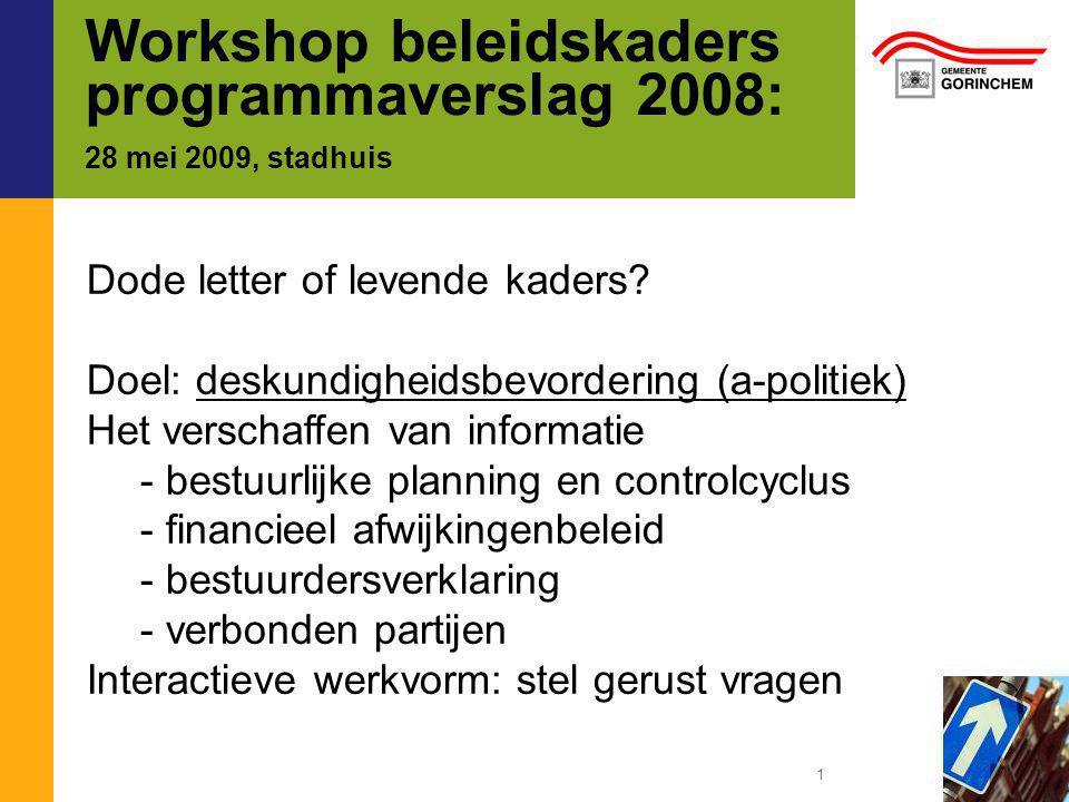 Workshop beleidskaders programmaverslag 2008: 28 mei 2009, stadhuis Dode letter of levende kaders.