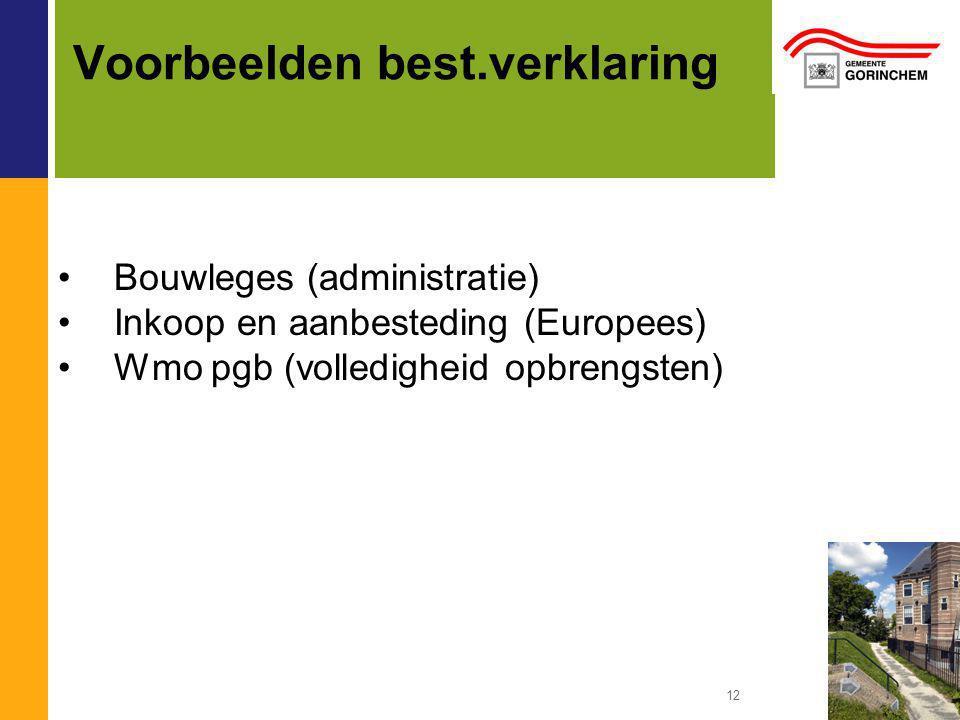12 Voorbeelden best.verklaring Bouwleges (administratie) Inkoop en aanbesteding (Europees) Wmo pgb (volledigheid opbrengsten)