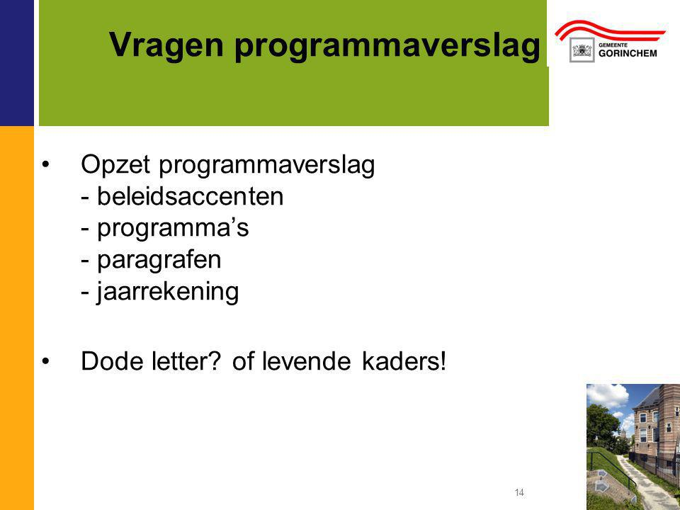 14 Vragen programmaverslag Opzet programmaverslag - beleidsaccenten - programma's - paragrafen - jaarrekening Dode letter.