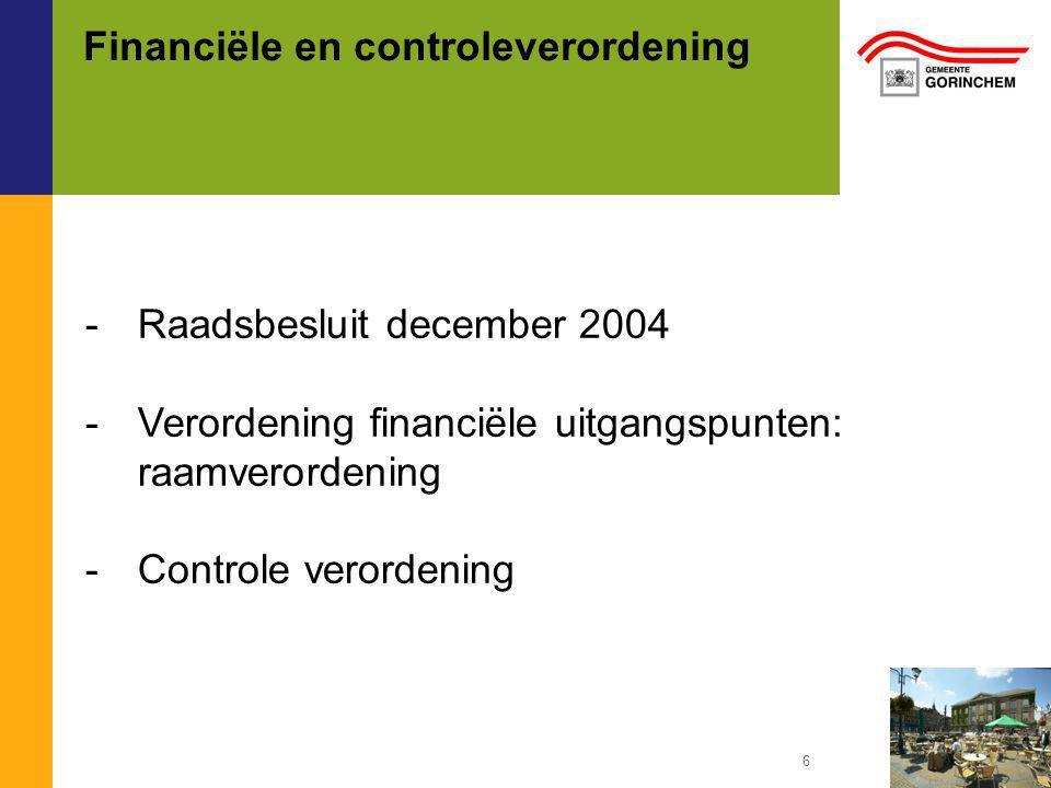 Financiële en controleverordening -Raadsbesluit december 2004 -Verordening financiële uitgangspunten: raamverordening -Controle verordening 6
