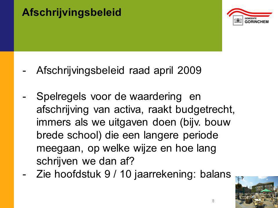 Afwijkingenbeleid -Afwijkingenbeleid raad april 2009 -Rollen van college en raad op het terrein van begrotingsrechtmatigheid en budgetrecht te bestempelen.