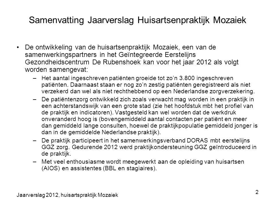 Jaarverslag 2012, huisartspraktijk Mozaiek 2 Samenvatting Jaarverslag Huisartsenpraktijk Mozaiek De ontwikkeling van de huisartsenpraktijk Mozaiek, ee