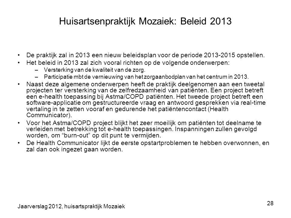 Jaarverslag 2012, huisartspraktijk Mozaiek 28 Huisartsenpraktijk Mozaiek: Beleid 2013 De praktijk zal in 2013 een nieuw beleidsplan voor de periode 20