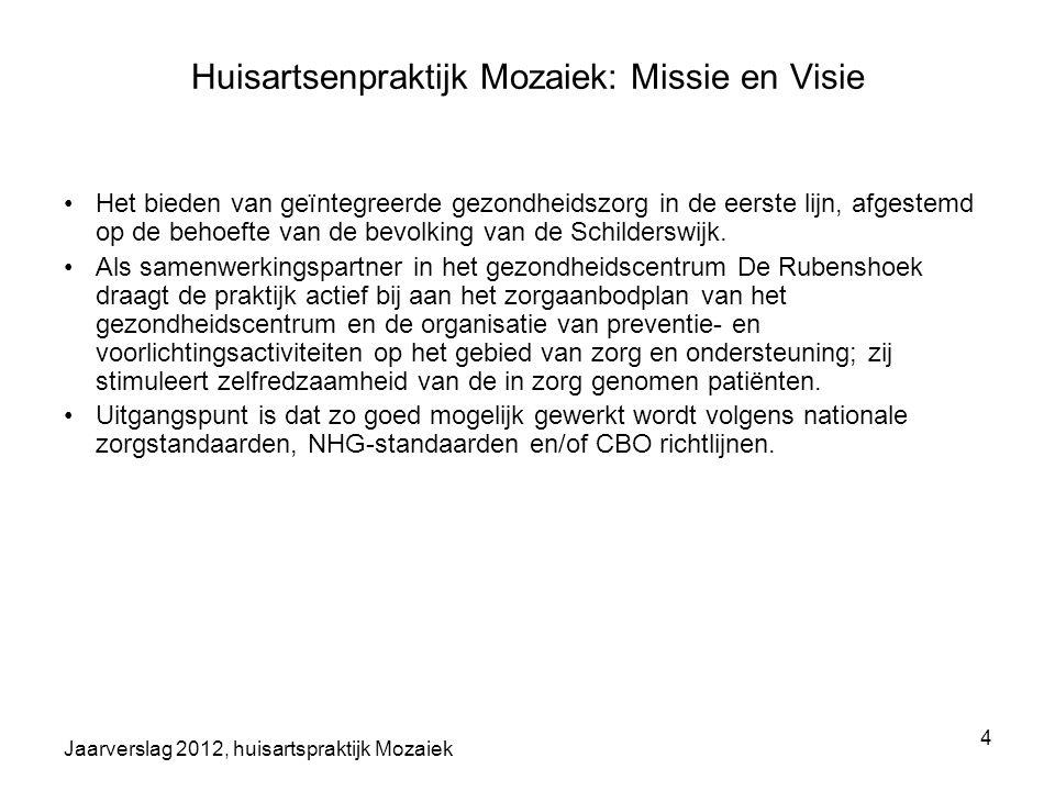 Jaarverslag 2012, huisartspraktijk Mozaiek 4 Huisartsenpraktijk Mozaiek: Missie en Visie Het bieden van geïntegreerde gezondheidszorg in de eerste lij