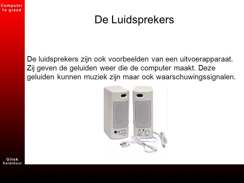 De Luidsprekers De luidsprekers zijn ook voorbeelden van een uitvoerapparaat. Zij geven de geluiden weer die de computer maakt. Deze geluiden kunnen m