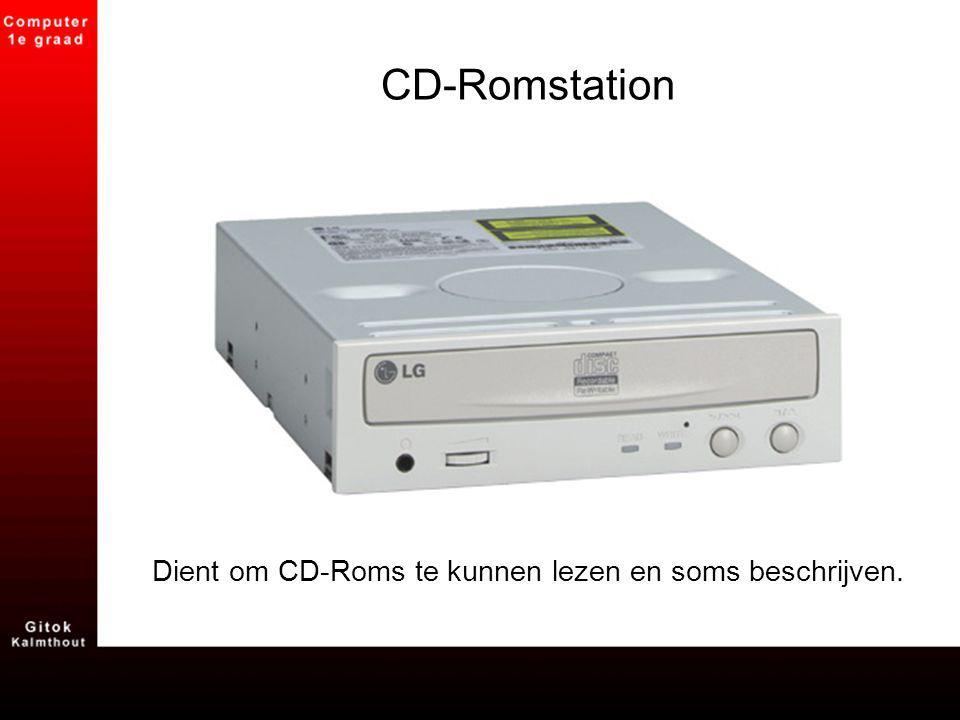 CD-Romstation Dient om CD-Roms te kunnen lezen en soms beschrijven.