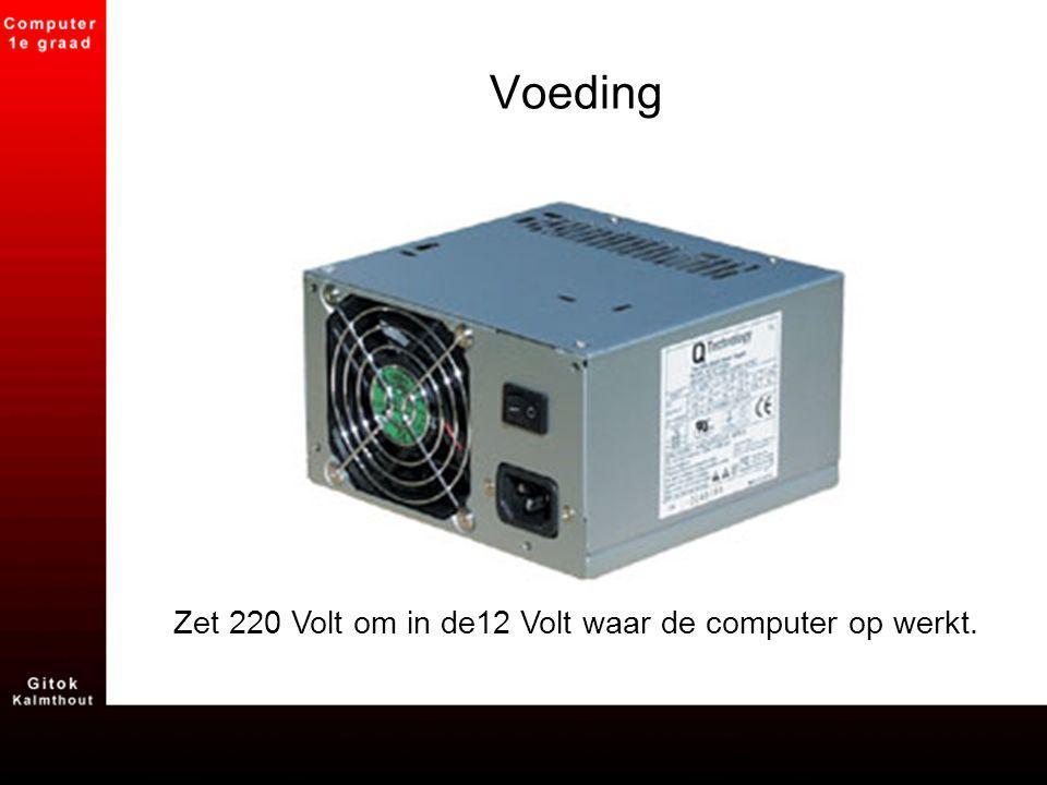 Voeding Zet 220 Volt om in de12 Volt waar de computer op werkt.