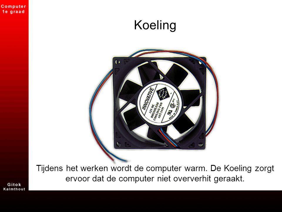 Koeling Tijdens het werken wordt de computer warm. De Koeling zorgt ervoor dat de computer niet oververhit geraakt.