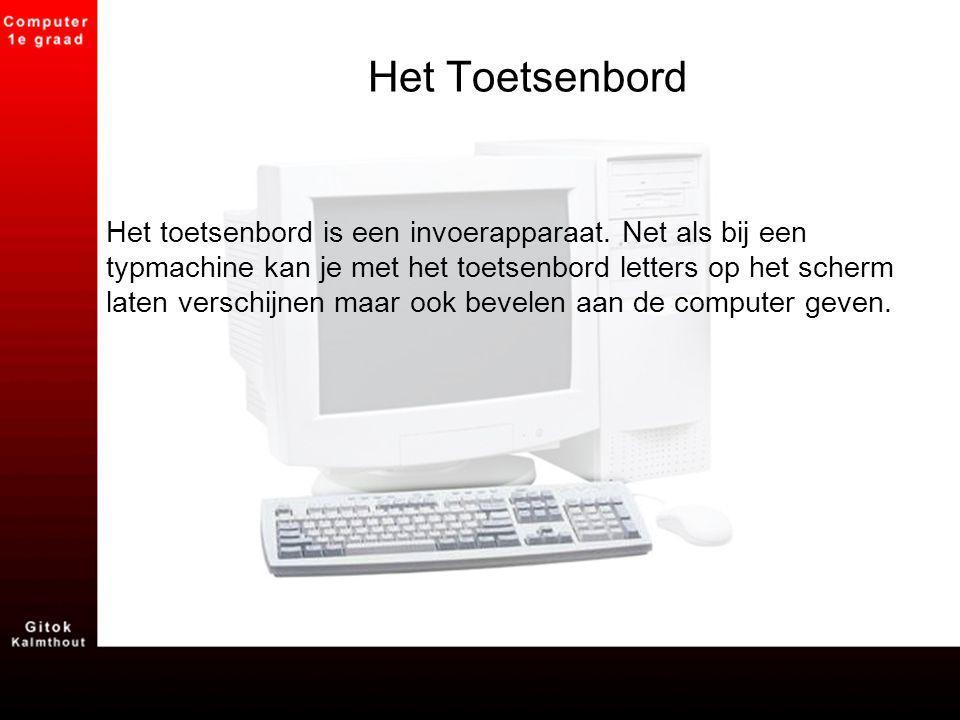 Het Toetsenbord Het toetsenbord is een invoerapparaat. Net als bij een typmachine kan je met het toetsenbord letters op het scherm laten verschijnen m