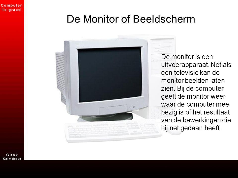 De Monitor of Beeldscherm De monitor is een uitvoerapparaat. Net als een televisie kan de monitor beelden laten zien. Bij de computer geeft de monitor