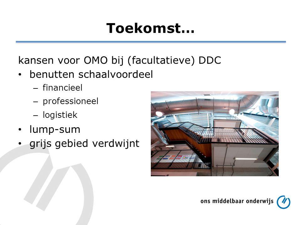 Toekomst… kansen voor OMO bij (facultatieve) DDC benutten schaalvoordeel – financieel – professioneel – logistiek lump-sum grijs gebied verdwijnt