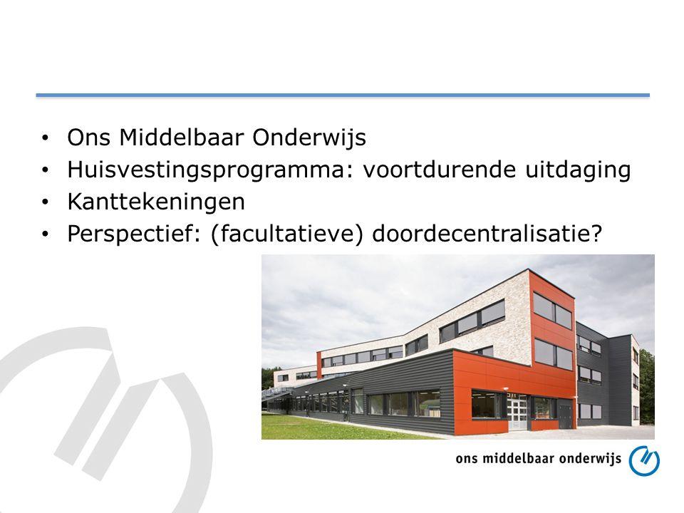 Ons Middelbaar Onderwijs Huisvestingsprogramma: voortdurende uitdaging Kanttekeningen Perspectief: (facultatieve) doordecentralisatie?