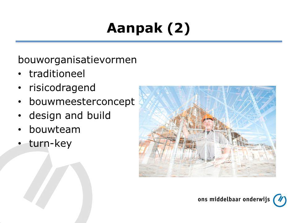 Aanpak (2) bouworganisatievormen traditioneel risicodragend bouwmeesterconcept design and build bouwteam turn-key