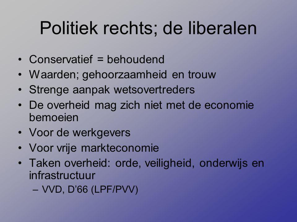 Politiek rechts; de liberalen Conservatief = behoudend Waarden; gehoorzaamheid en trouw Strenge aanpak wetsovertreders De overheid mag zich niet met d