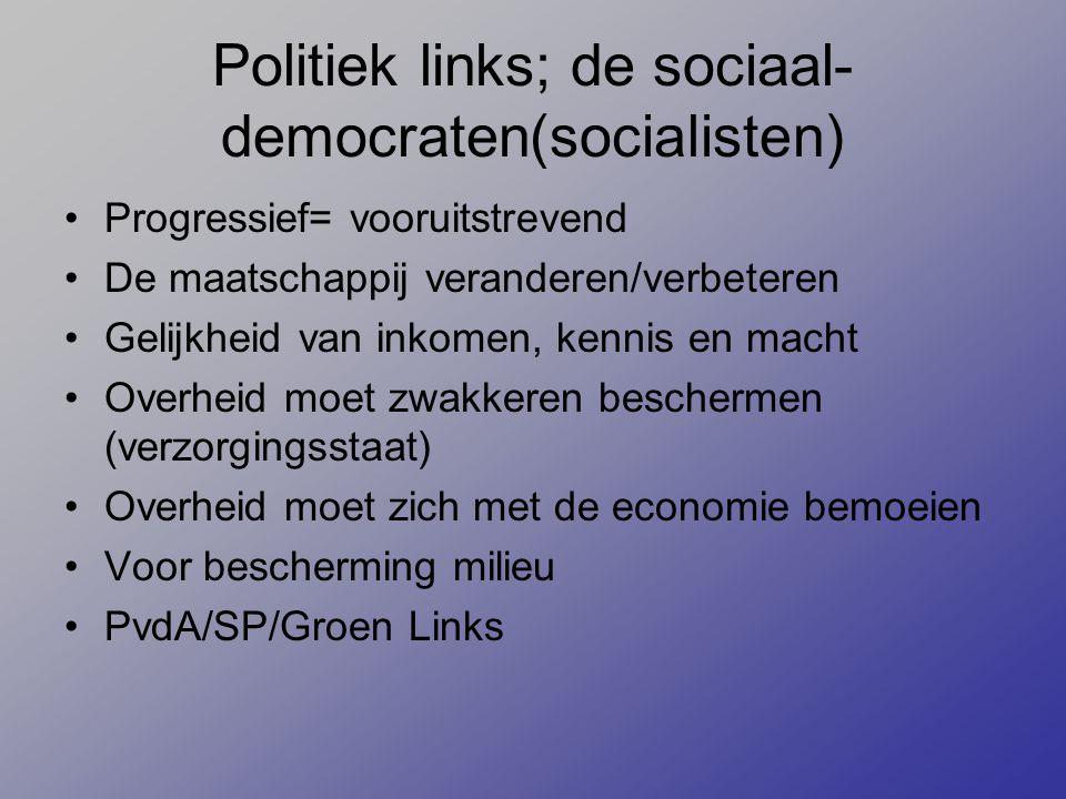 Politiek links; de sociaal- democraten(socialisten) Progressief= vooruitstrevend De maatschappij veranderen/verbeteren Gelijkheid van inkomen, kennis