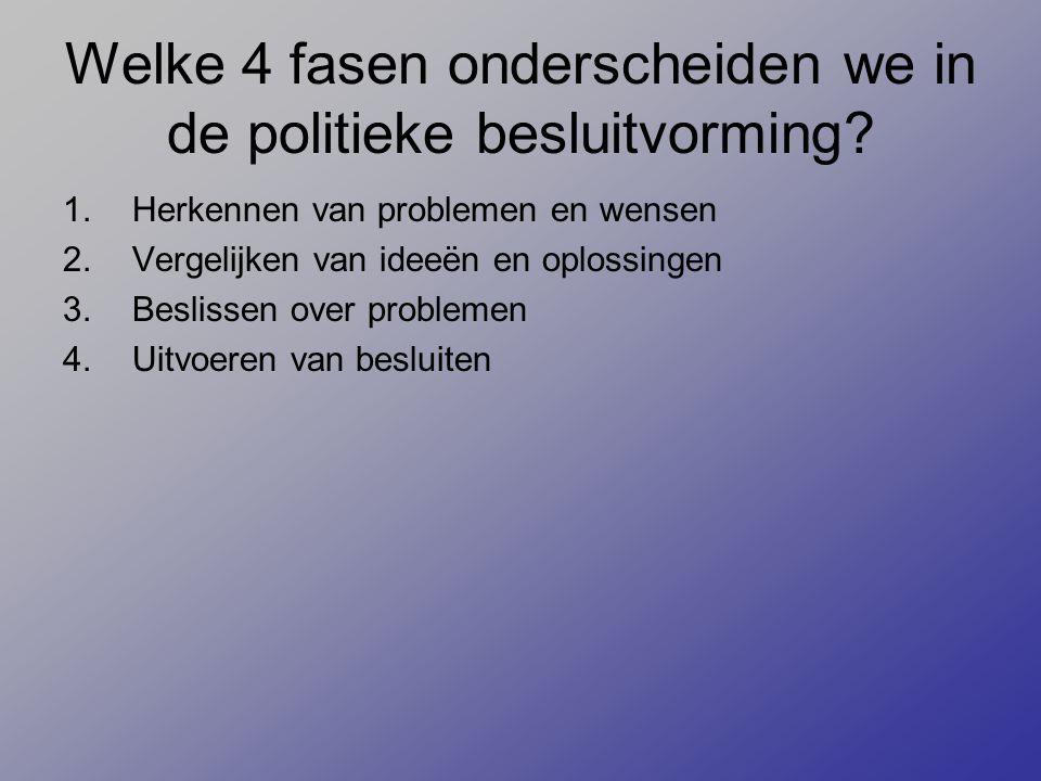 Welke 4 fasen onderscheiden we in de politieke besluitvorming? 1.Herkennen van problemen en wensen 2.Vergelijken van ideeën en oplossingen 3.Beslissen