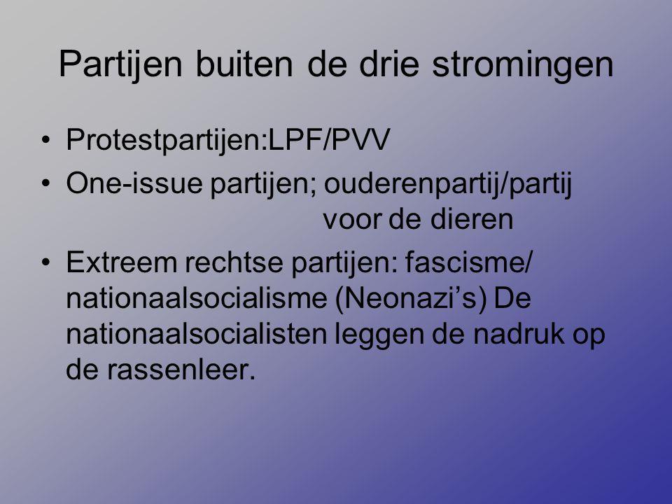 Partijen buiten de drie stromingen Protestpartijen:LPF/PVV One-issue partijen; ouderenpartij/partij voor de dieren Extreem rechtse partijen: fascisme/ nationaalsocialisme (Neonazi's) De nationaalsocialisten leggen de nadruk op de rassenleer.