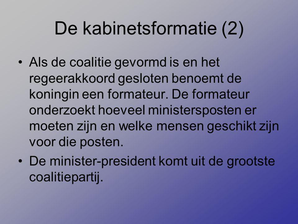 De kabinetsformatie (2) Als de coalitie gevormd is en het regeerakkoord gesloten benoemt de koningin een formateur. De formateur onderzoekt hoeveel mi