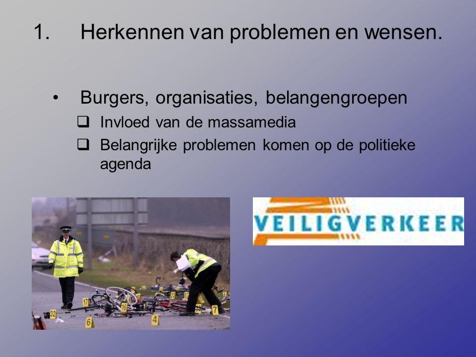 1.Herkennen van problemen en wensen. Burgers, organisaties, belangengroepen  Invloed van de massamedia  Belangrijke problemen komen op de politieke
