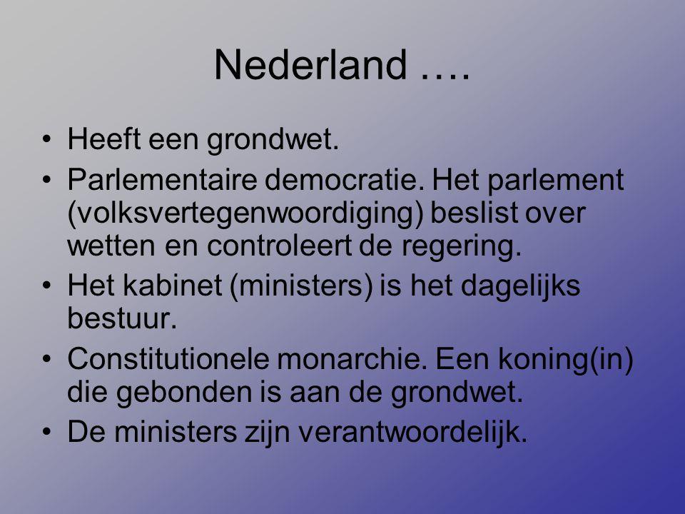 Nederland …. Heeft een grondwet. Parlementaire democratie. Het parlement (volksvertegenwoordiging) beslist over wetten en controleert de regering. Het