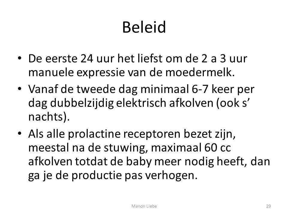 Beleid De eerste 24 uur het liefst om de 2 a 3 uur manuele expressie van de moedermelk. Vanaf de tweede dag minimaal 6-7 keer per dag dubbelzijdig ele